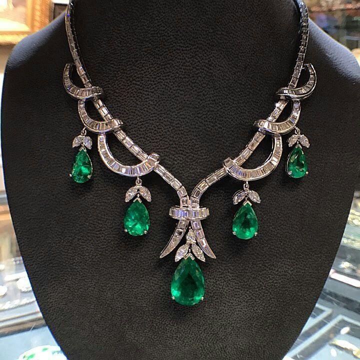 A superb mixed cut #diamond and pear shape #emerald #necklace  Made Circa 1970