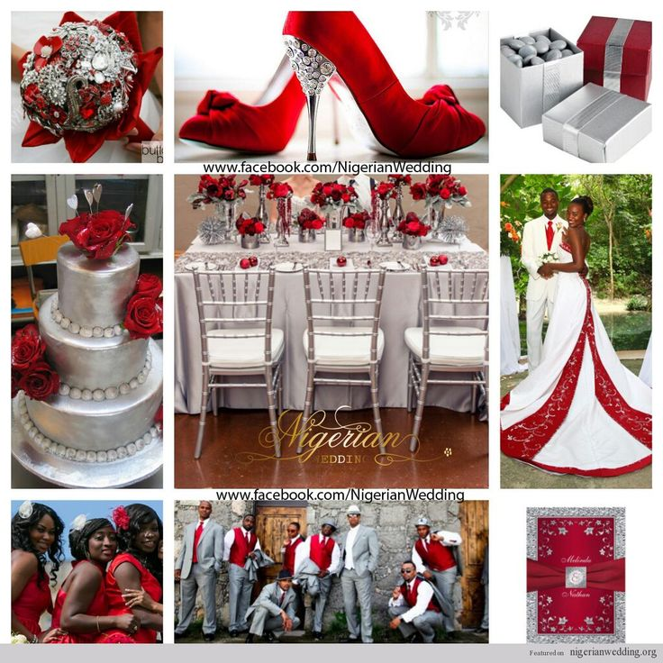 nigerian wedding red and silver wedding color scheme