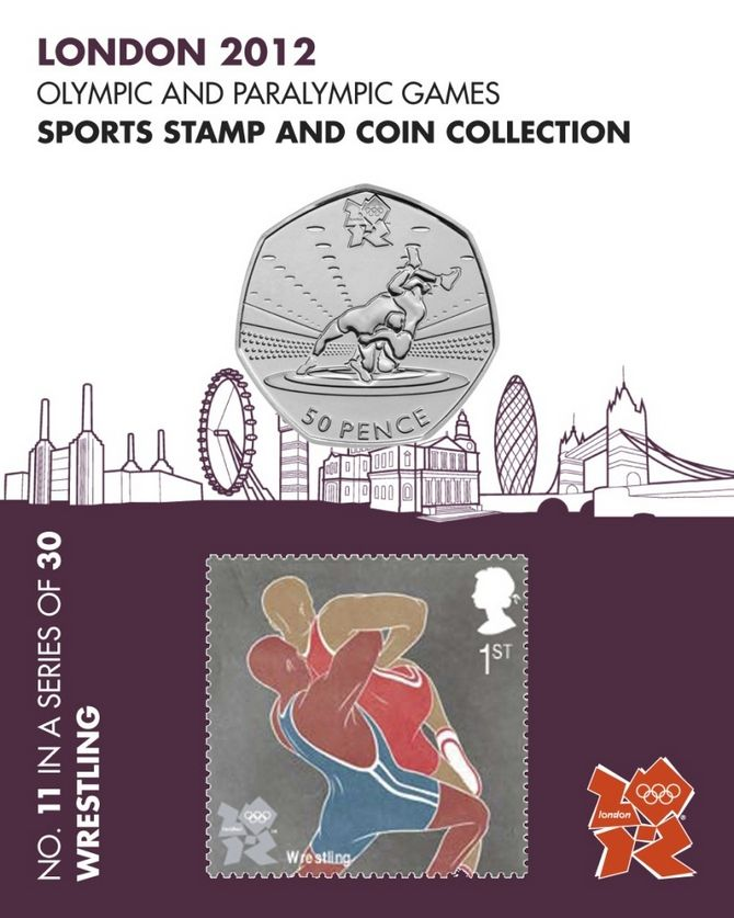 Wrestling Sports 50p Coin & Wrestling Sport Stamp - London 2012 Olympic Games No.11 #FineGifts #London2012OlympicCoins