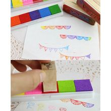 DIY Handgemaakte 6 Kleuren Inkt Pad Stempelkussen Stempel Decoratie Vingerafdruk Craft Card Scrapbooking voor Kinderen Kids Educatief Sets(China (Mainland))