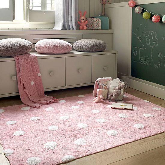 Teppich Washable Baumwolle Topos rosa 120x160 von Lorena Canals