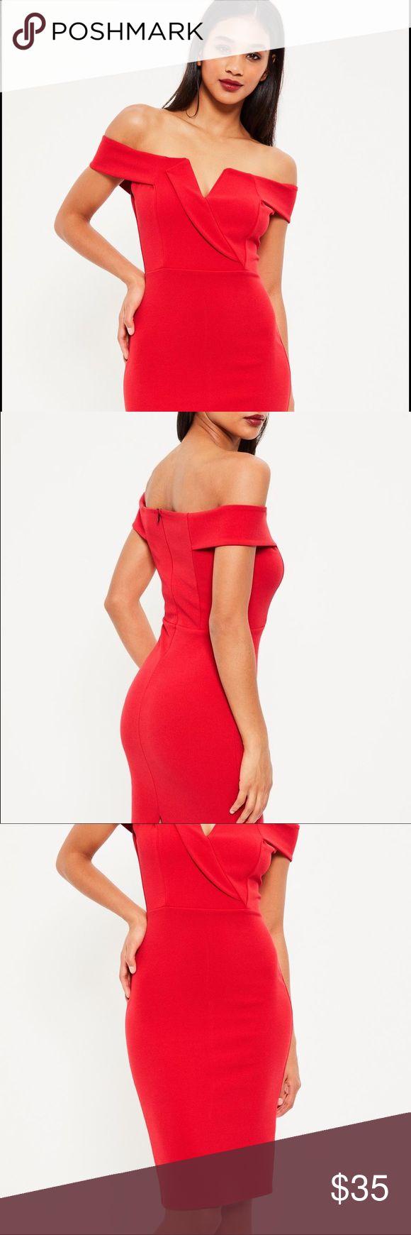 Missguided Red Bardot Midi Dress Missguided Red Bardot Midi Dress. Never worn. Tags still attached. Missguided Dresses Midi