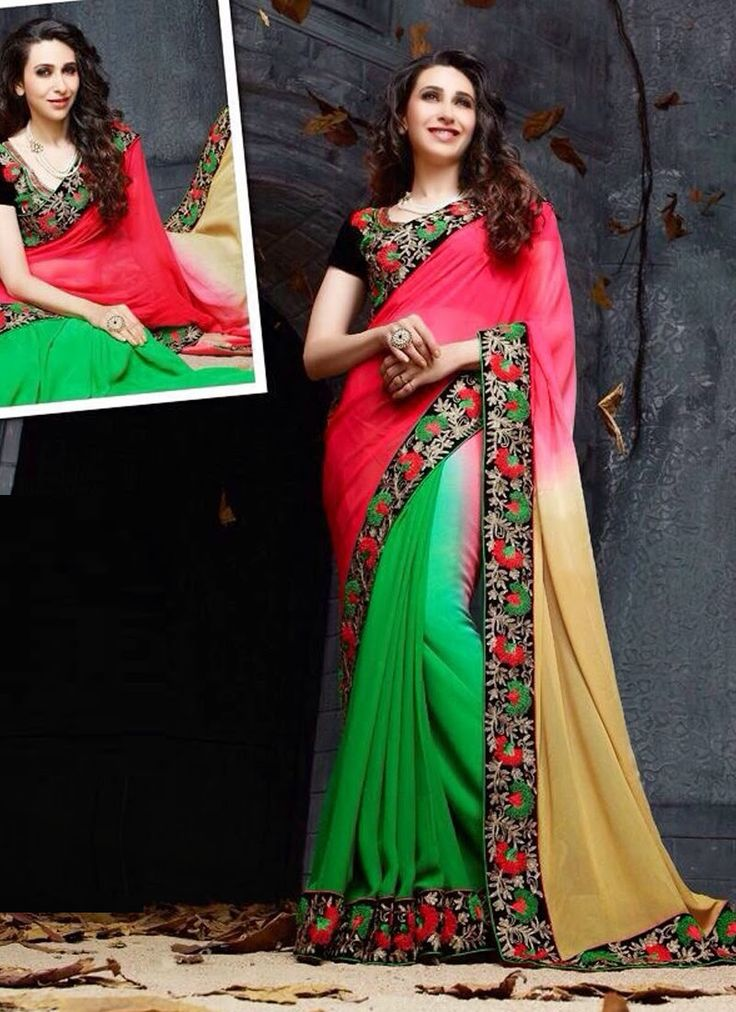 Designer Sarees online shopping in USA UK Canada|Buy Karishma Kapoor black ,pink and green Party wear