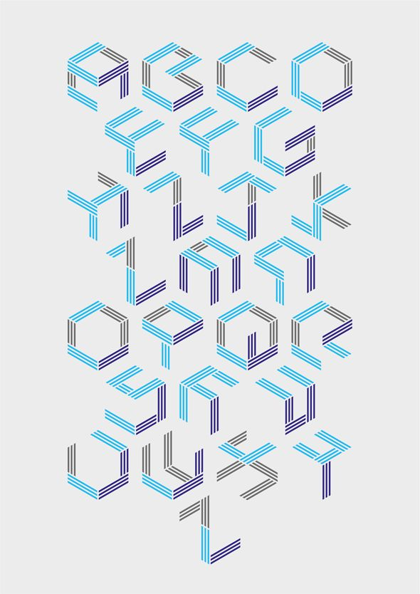 All letters are made by putting lines on a side of a cube.