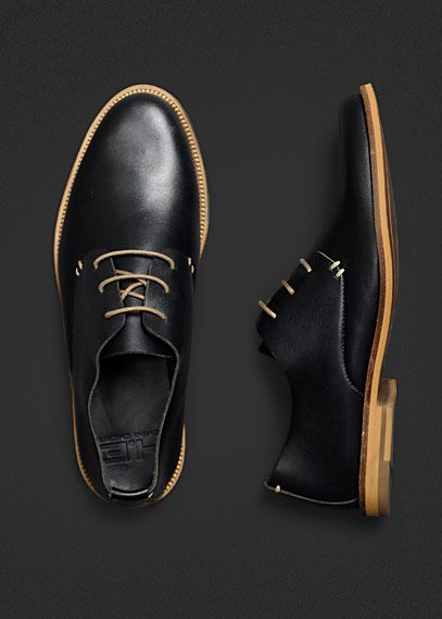 HE by Mango / black leather uppers with wood sole