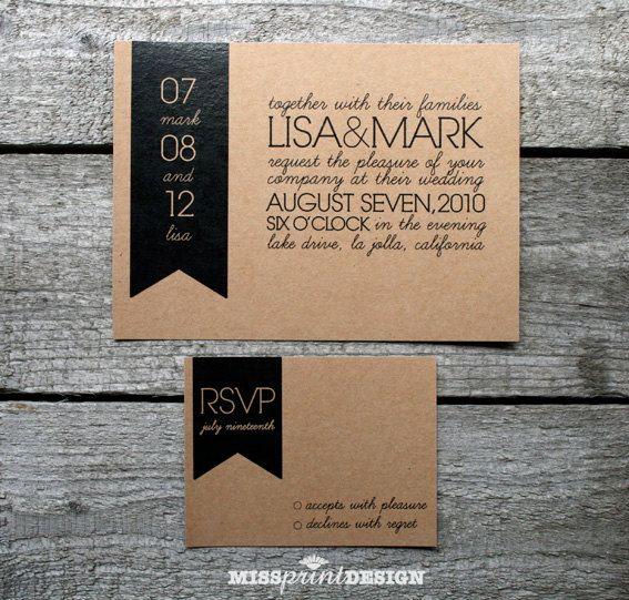 simple bold banner ECO WEDDING INVITATION by missprintdesign, $4.75