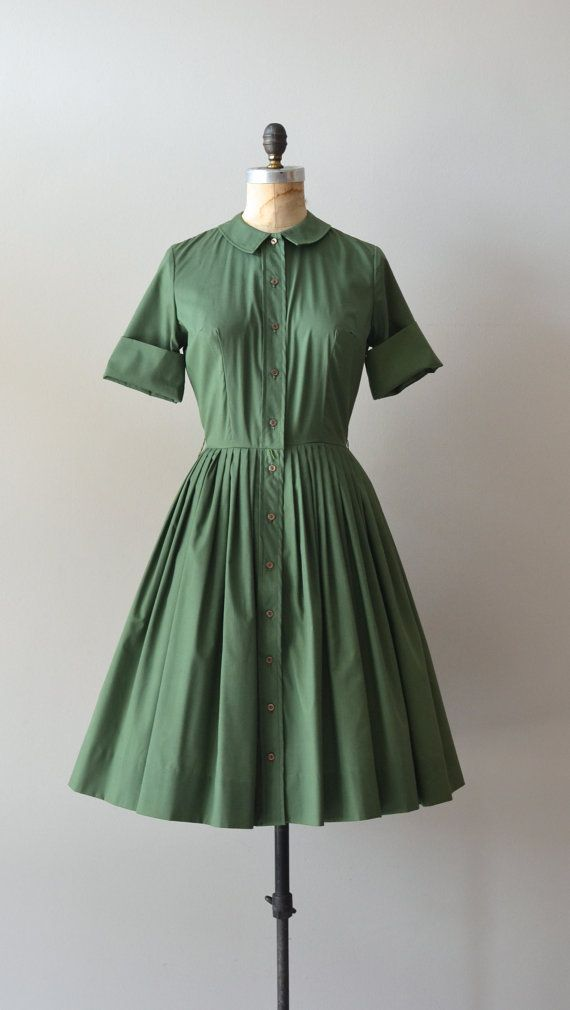 1950s dress / vintage 50s shirtdress / Old Greenwich by DearGolden, $128.00
