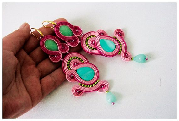 Pink Soutache Earrings kolczyki sutasz by SoutacheJewelleryAM