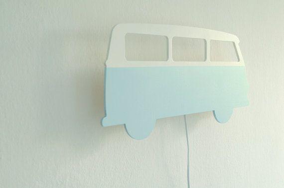 Volkswagen T1 muur nachtlampje voor kinderen. Hand door NOBOBOBO