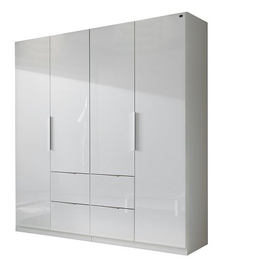 Thoughtfully designed to enhance the beauty around your #livingspace, the Add on D white gloss #wardrobe comes with 4 doors and 4 spacious #drawers to maximize your storage area.