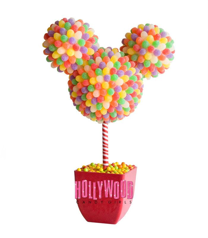 candy centerpieces, candy topiary, candy land theme party ideas, rainbow candy decor, candy trees & topiary. Mitzvah, Quince, Sweet 16, corporate centerpieces! candy favors, wedding candy favors, candy buffet wedding, www.Hollywoodcandygirls.com  Mickey Disney Candy Arrangement, Mickey, Minnie Candy Centerpiece, Favor