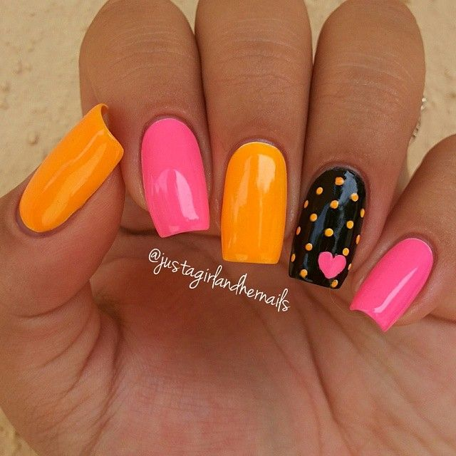 super cute pink and orange nail design with black polka dot accent by justagirlandhernails #fav
