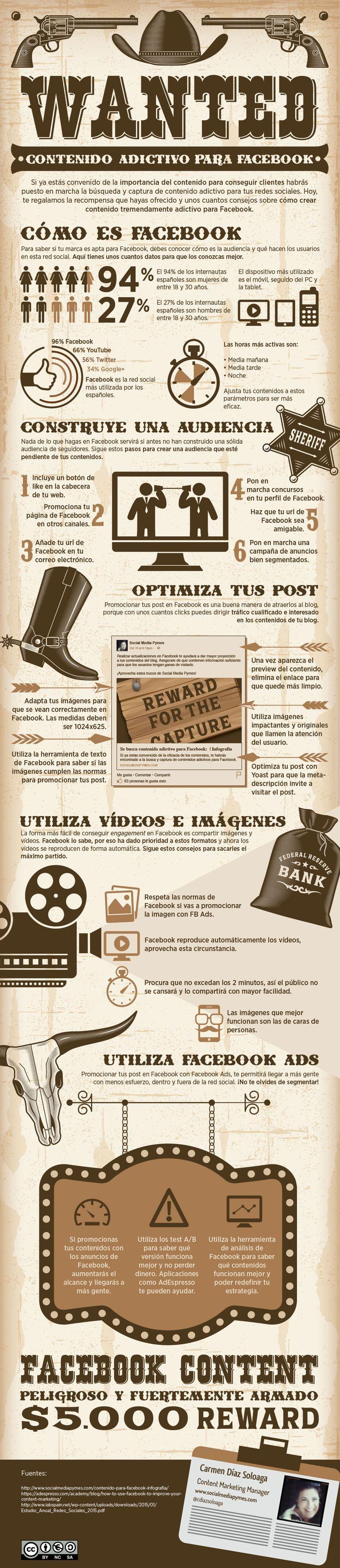 Infografía sobre cómo crear contenidos adictivos para Facebook como parte de tu estrategia de contenidos. Blog de marketing de contenidos.
