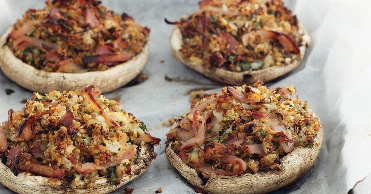 Mushrooms make the perfect container for the salty bacon and creamy haloumi cheese.