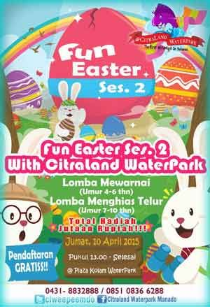 #LombaMewarnai #LombaMenghiasTelurPaskah Lomba Mewarnai dan Menghias Telur Paskah Fun Easter Session 2 with Citraland WaterPark  ACARA: 10 April 2015  http://infosayembara.com/sayembara.php?judul=lomba-mewarnai-dan-menghias-telur-paskah-fun-easter-session-2-with-citraland-waterpark