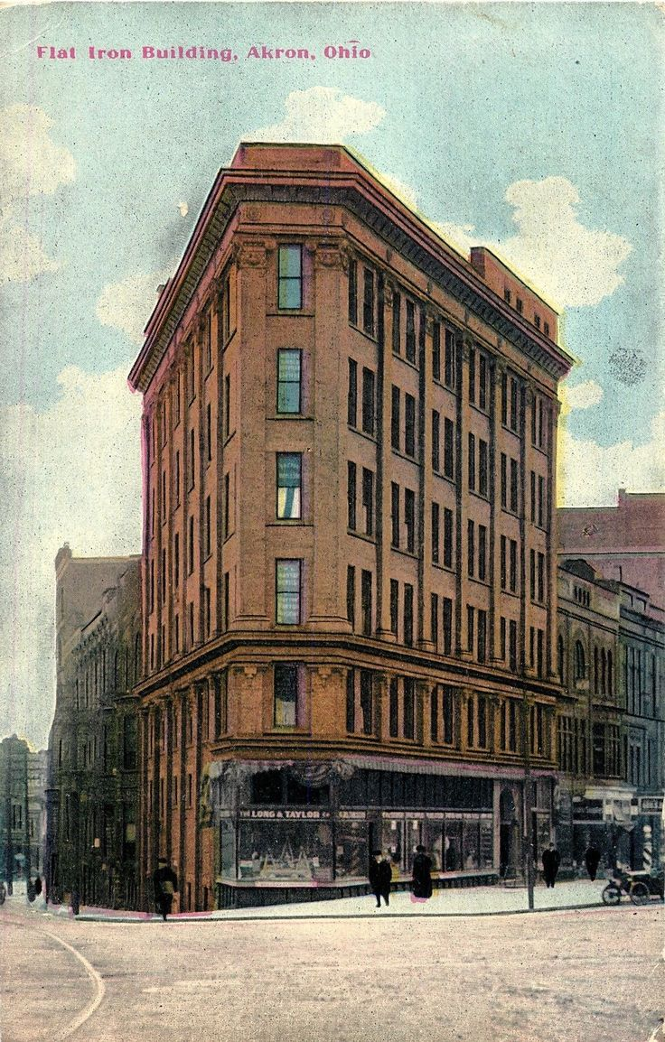 View of the Flat Iron Building, Akron OH 1909