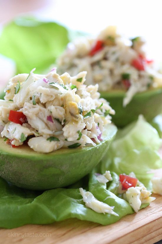 This light crab salad is made with lime juice, olive oil, cilantro and red onion, then stuffed into an avocado. It's light, refreshing and perfect for the summer as a lunch or salad if your having guests and you want to impress! You can easily double or triple this recipe, make the salad ahead and assemble just before serving.     This recipe is an oldie from the archives I've been in the mood for all week. Here in Long Island, I'm lucky to have access to fresh crab in my neighborhood sea...