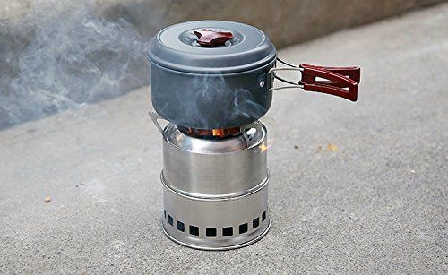New Portable Stainless Steel Backpacking Picnic Wood Burning Camp Stove