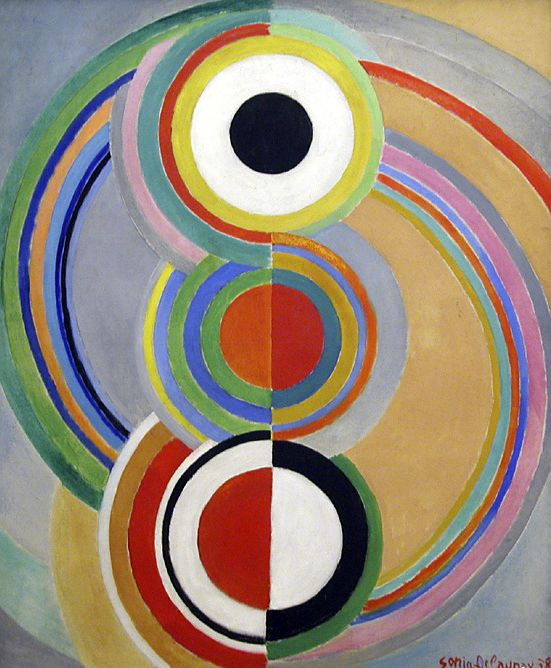 Rhythm / 1938 / Sonia Delaunay  I must be able to adapt this for kids art class somehow.  Simply  draw numerous different sized circles, fold down the middle and have two students  paint each side differently, with one unifying circle at top.  Rhythm