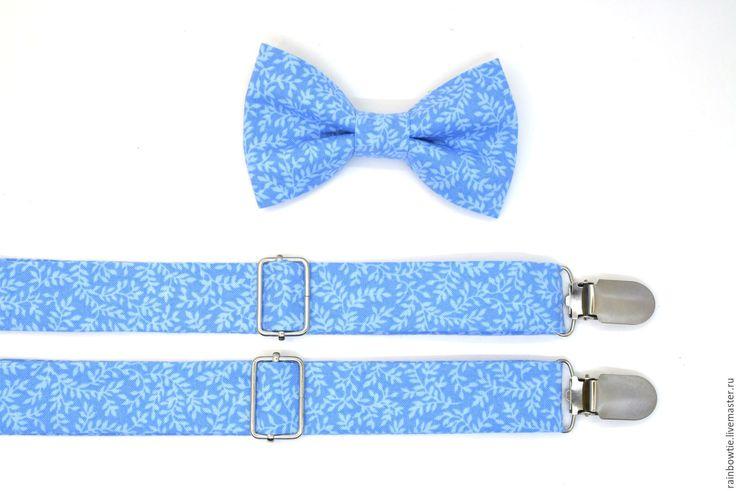 """Купить Комплект бабочка и подтяжки """"Глория"""" - голубой, цветочный, галстук-бабочка, галстук бабочка"""