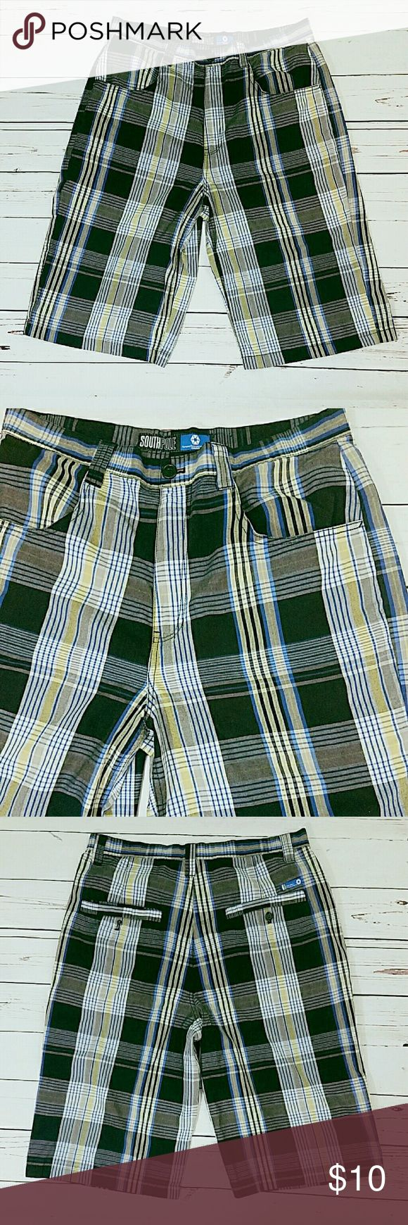 "Men's Plaid Shorts Waist 36"" Inseam 14"" Rise 13"" Black, blue, yellow and white plaid. 4 pockets. Zip front with button close. Machine wash. Very good condition.   201760 South Pole Shorts Flat Front"