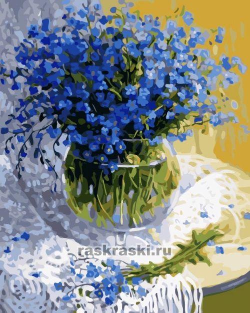 Описание с фотографиями, отзывы о товаре Картины по номерам «Небесно-синие цветы» марки «Menglei» (арт. MG459). Купить с доставкой или самовывозом в интернет-магазине Раскраски.Ру.