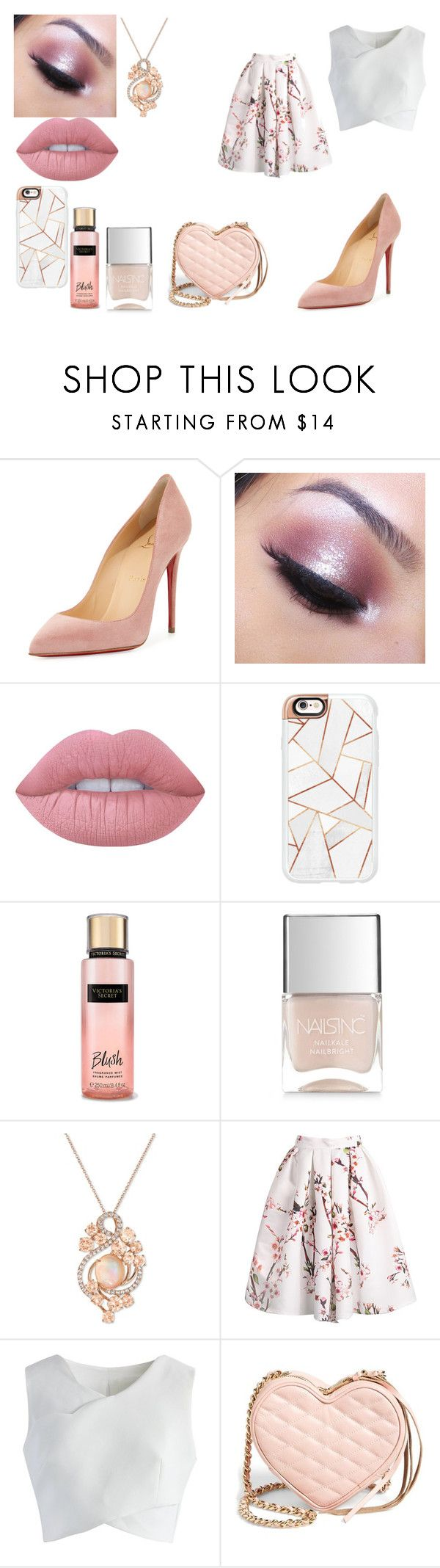 """Untitled #17"" by overeducatedqueen ❤ liked on Polyvore featuring Christian Louboutin, Too Faced Cosmetics, Lime Crime, Casetify, Victoria's Secret, Nails Inc., LE VIAN, Chicwish and Rebecca Minkoff"