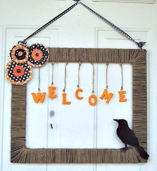 Halloween Wreath with crow Square wreath by AudreyEileenVintage