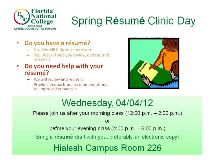 Resume Clinic FNU Advising Blog Pinterest Clinic - the resume clinic