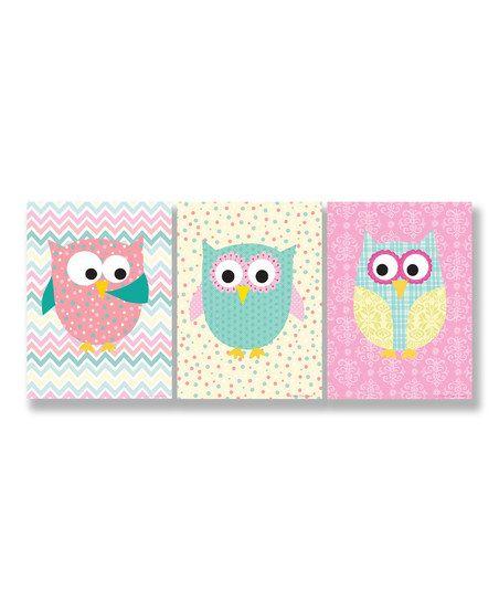 Whimisical Owl Wall Art Set