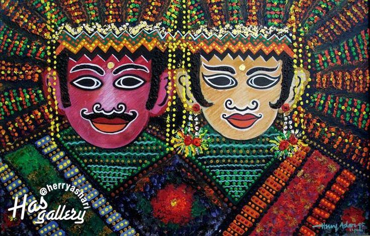 """Ondel-ondel"" Artis : Herry Ashari Material : Acrylic on canvas Size : 70 x 90 cm"