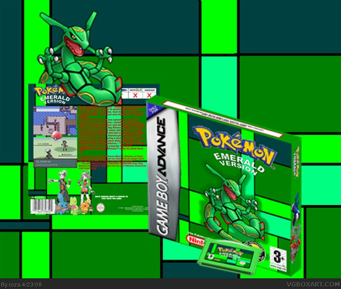 Pokemon Emerald Game Boy Advance Box Art Cover by roza