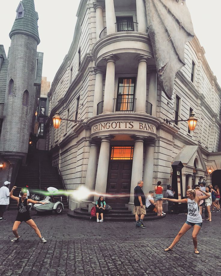 My only Harry Potter World advice, is to get early admission and take a dueling photo in the middle of Diagon Alley, if you wait any longer, the place fills up with people trying to take pictures of the fire breathing dragon which is also very cool! Enjoy me and my sisters witch dueling photo. Disclaimer...I added the magic edit coming from our wands, our Dad took the photo, there isn't any secret thing that takes this photo but get creative =] have fun