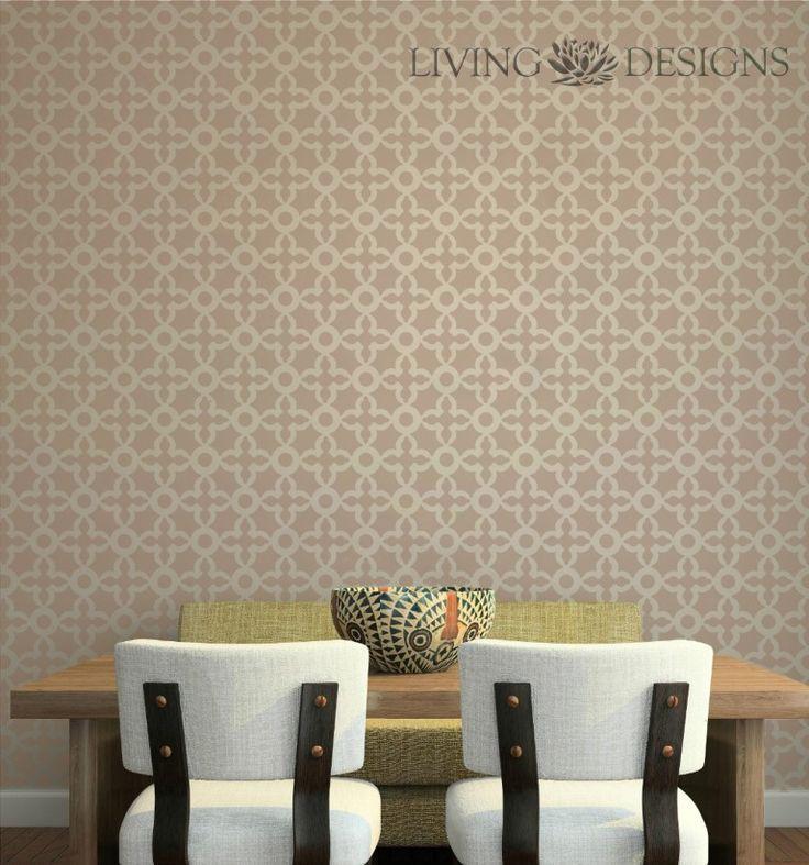 Plantillas para pintar y decorar paredes con efecto papel tapiz