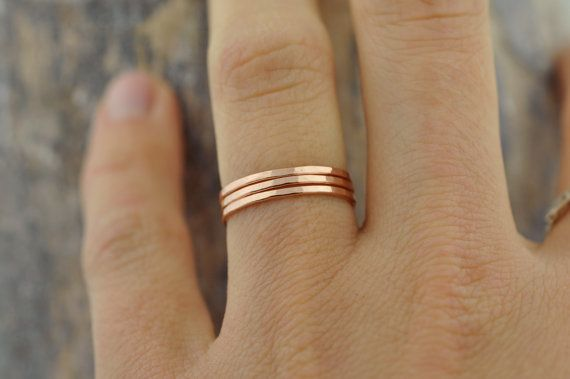 Single Rose Gold-fill Thin Band  Stacking Ring by ColbyJuneJewelry