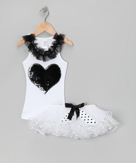 White Sequin Heart Tank & Tutu - Toddler & Girls