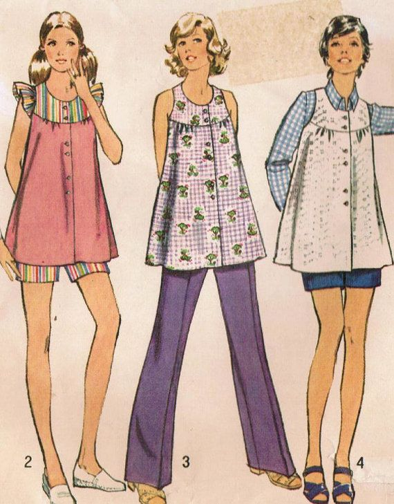 1970s Simplicity 5421 Vintage Sewing Pattern Misses' Maternity Smock, Top, and Pants Size 10 Bust 32-1/2