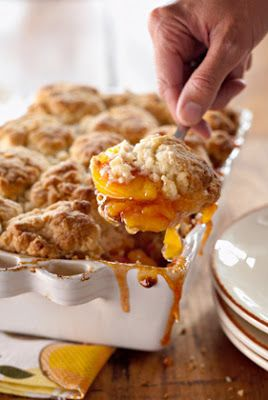 Peach and Cinnamon Cobbler, making this tonight and will tell if it is as good as she says. Later:::YES it is absolutely the best apple anything I have put into my mouth. (oh yeah, I used apples) I will favorite this one for sure.