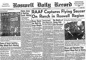 Copy of Headline, Roswell Daily Record, July 8, 1947, Roswell, New Mexico