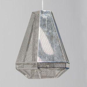 Lámpara colgante VINCE cromo - Lámpara colgante hecha con láminas de acero inoxidable muy finas. Las finas aberturas de las láminas proporcionan un efecto muy agradable.