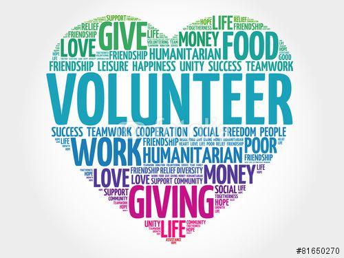 Vector: Volunteer word cloud, heart concept