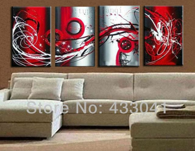 Hand Painted 4 Piece Set Grey White Black and Red Passion Large Wall Painting On Canvas Monder Abstract Oil Art Home Decoration