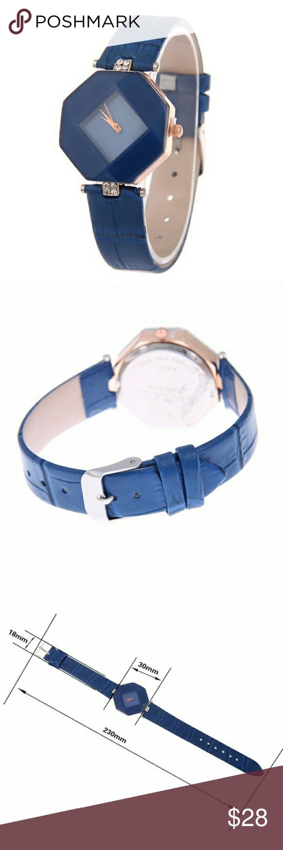 Geometric watch with faux leather band navy This watch has a unique geometric face and a faux leather band, all in a rich navy blue. The length of the watch is 23cm.  Brand new, never used,no brand name. Accessories Watches