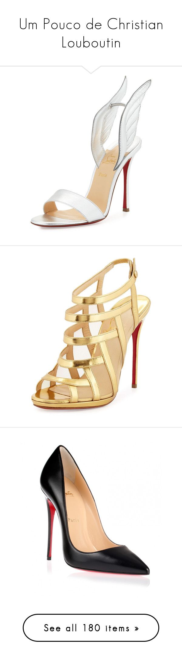 """""""Um Pouco de Christian Louboutin"""" by liasalvatore ❤ liked on Polyvore featuring shoes, sandals, heels, christian louboutin, silver, strappy sandals, leather slip on sandals, winged sandals, leather strap sandals and heeled sandals"""