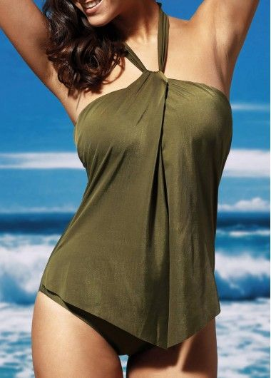 Open Back Army Green One Piece Swimwear