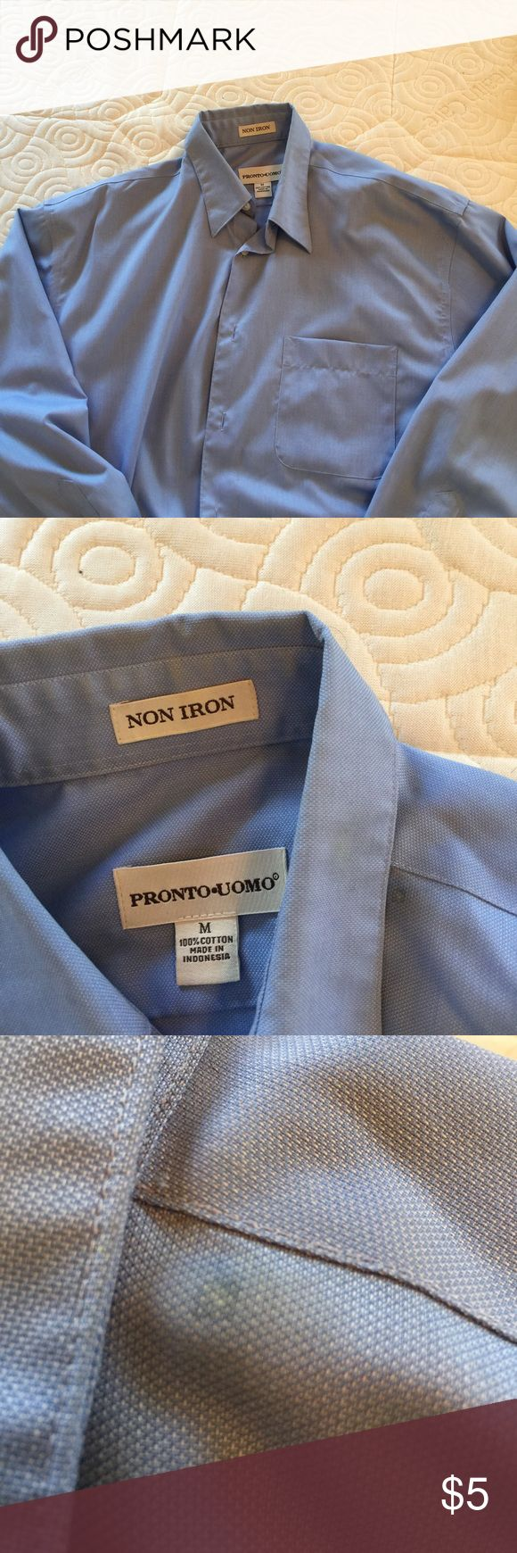 Pronto Uomo light blue dress shirt.  Size M Nice cotton non iron Pronto Uomo dress shirt in light blue.  Small spot on left shoulder near collar pictured in photo.  Otherwise good condition. Pronto Uomo Shirts Dress Shirts