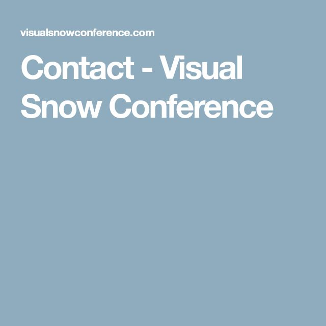 Contact - Visual Snow Conference