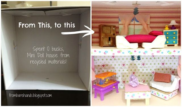 From Bare Hands: DIY: Mini Doll House Without Spending a Single Cent!!!