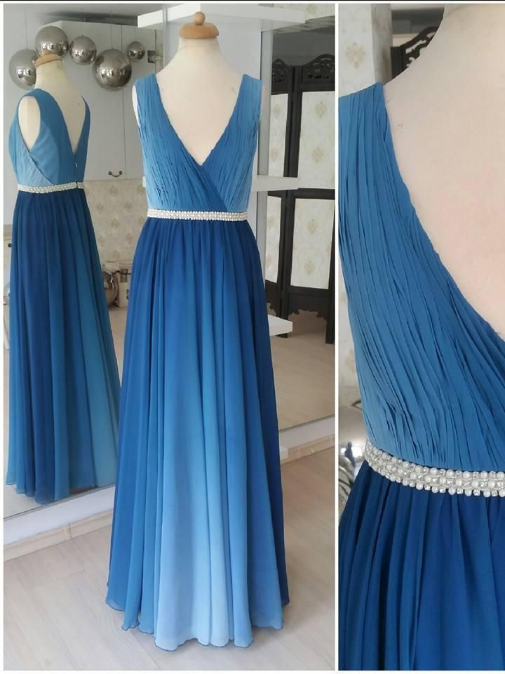 32e17394a25 Ombre Blue Simple Prom Dresses Plus Size V Neck Beaded Long Maxi Formal  Dresses APD3517