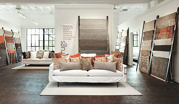An excessive number of pillows on those sofas, but lovely displays nevertheless. > Room & Board Home Furniture Store - Washington, D.C.